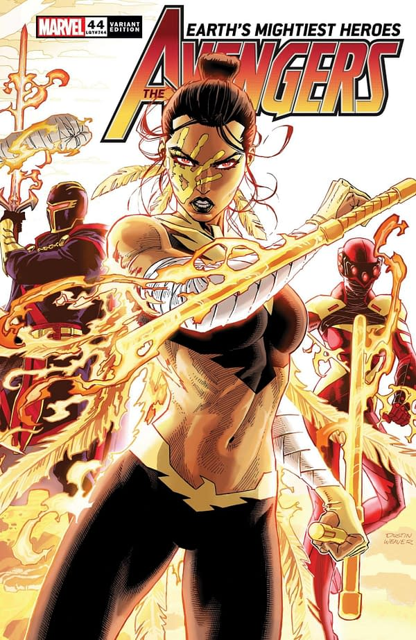 Dustin Weaver's connecting variant cover to Avengers #44, by Jason Aaron and Javi Garron, in stores from Marvel Comics on April 7th, 2021.