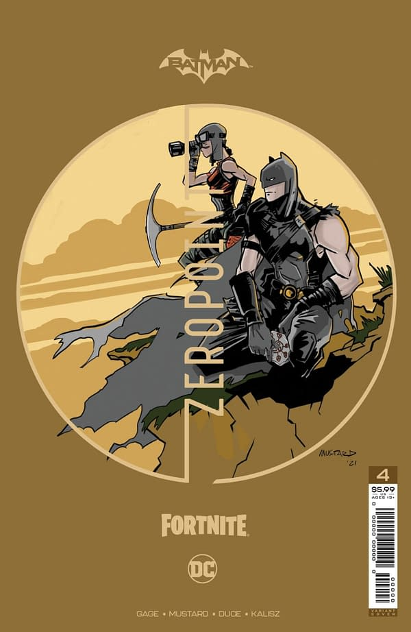 Donald Mustard premium variant cover to Batman/Fortnite #4, by Donald Mustard, Christos Gage, Christian Duce, Nelson Faro DeCastro, and John Kalisz.