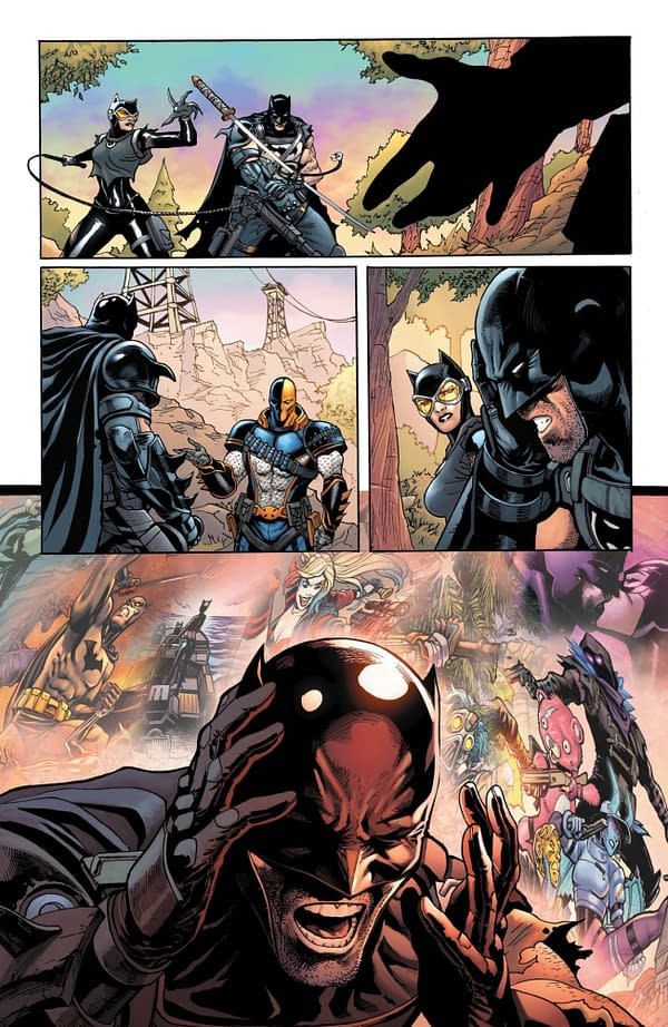 Interior preview page from Batman/Fortnite #4, by Donald Mustard, Christos Gage, Christian Duce, Nelson Faro DeCastro, and John Kalisz.