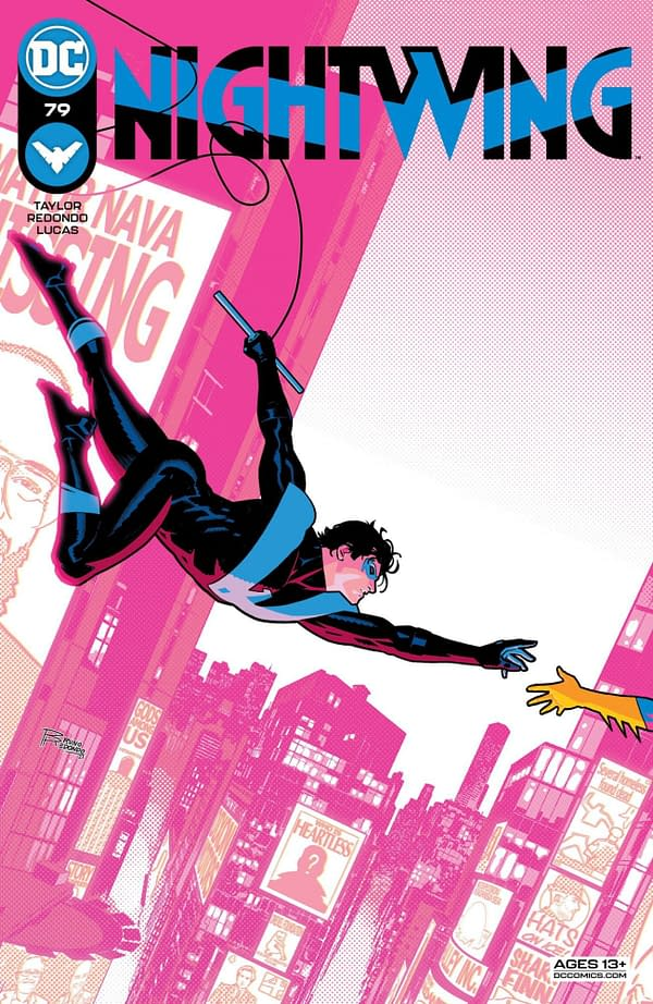 The Bruno Redondo cover to Nightwing #79, by Tom Taylor and Bruno Redondo, in stores on Tuesday, April 20th from DC Comics