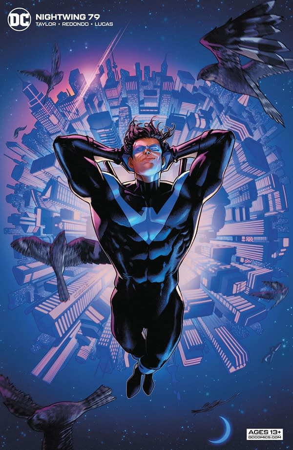 The Jamal Campbell card stock variant cover to Nightwing #79, by Tom Taylor and Bruno Redondo, in stores on Tuesday, April 20th from DC Comics