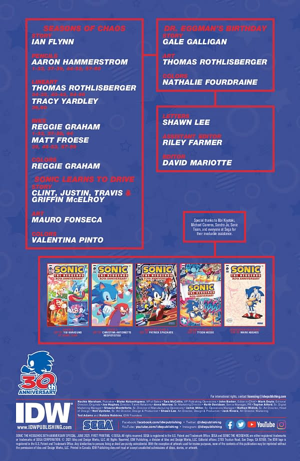 Interior preview page from SONIC THE HEDGEHOG 30TH ANNIV SPEC CVR A SONIC TEAM