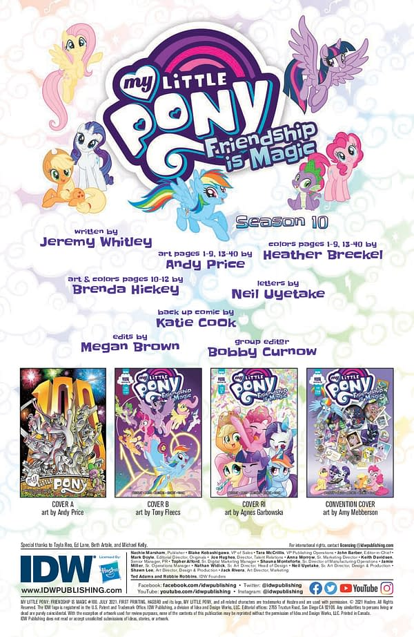 Interior preview page from MY LITTLE PONY FRIENDSHIP IS MAGIC #100 CVR A ANDY PRICE (C