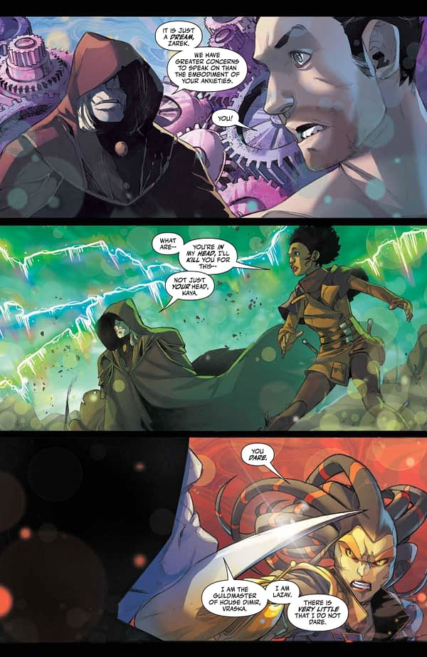 Interior preview page from MAY210957 MAGIC THE GATHERING #4 CVR A SCALERA, by (W) Jed MacKay (A) Ig Guara (CA) Matteo Scalera, in stores Wednesday, July 7, 2021 from BOOM! STUDIOS