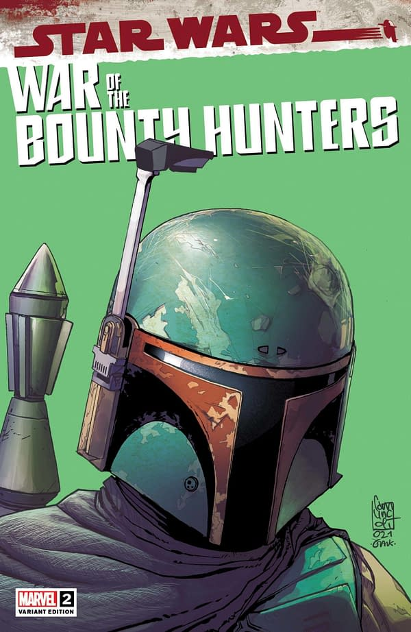 Cover image for MAY210671 STAR WARS WAR OF THE BOUNTY HUNTERS #2 (OF 5) CAMUNCOLI HEADSHOT VA, by (W) Charles Soule (A) Luke Ross (CA) Giuseppe Camuncoli, in stores Wednesday, July 14, 2021 from MARVEL COMICS