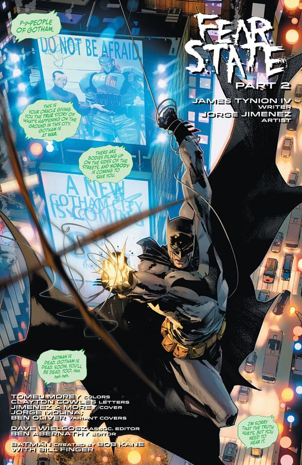 Interior preview page from BATMAN #113 CVR A JORGE JIMENEZ (FEAR STATE)
