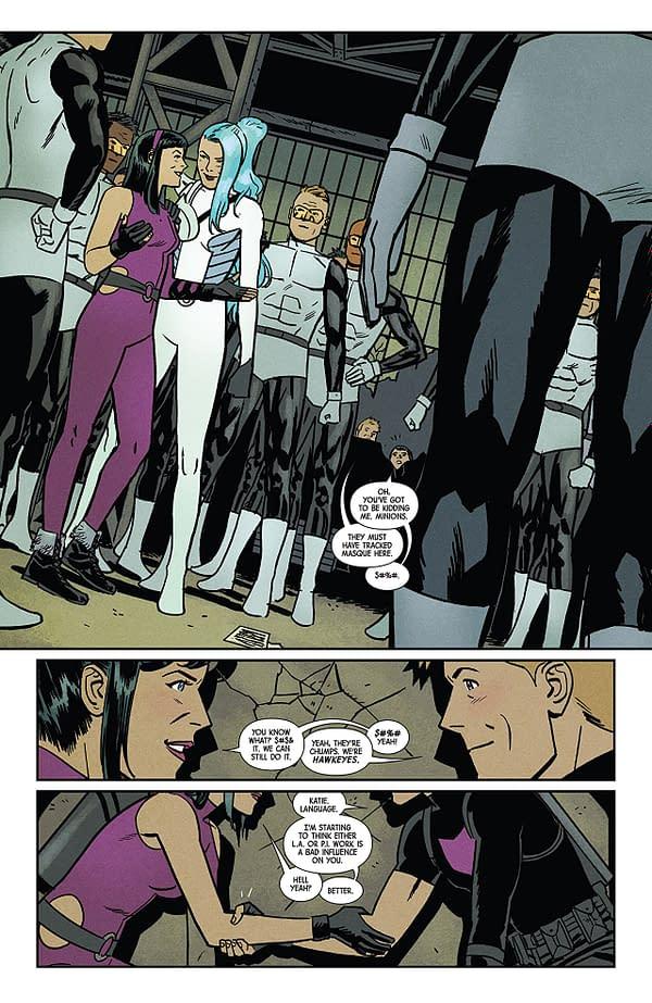 Hawkeye #15 art by Leonardo Romero and Jordie Bellaire