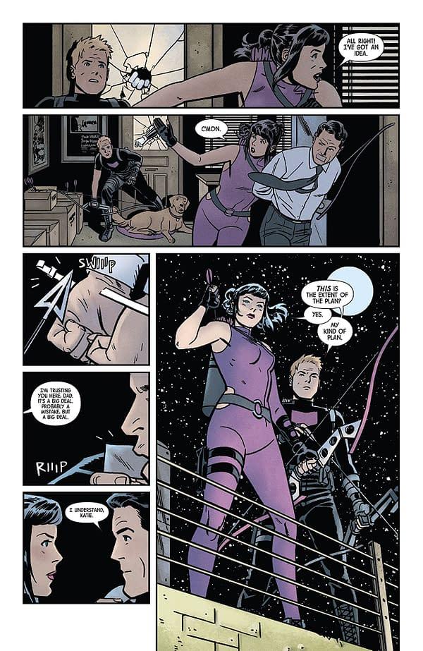 Hawkeye #16 art by Leonardo Romero and Jordie Bellaire