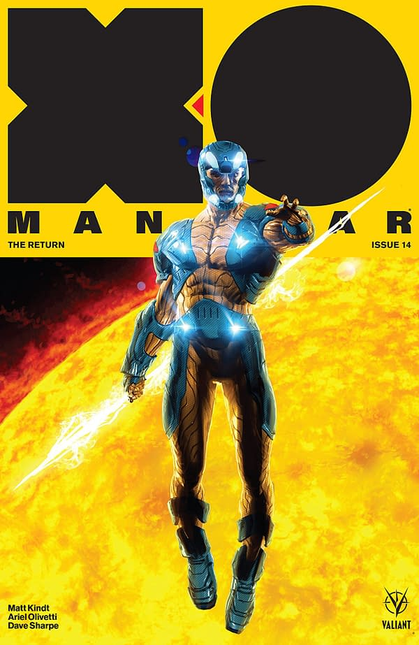 X-O Manowar #14 cover by Kaare Kyle Andrews