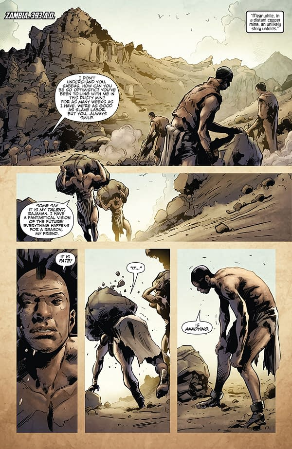 X-O Manowar #15 art by Trevor Hairsine, Brian Thies, Stefano Guidano, and Diego Rodriguez
