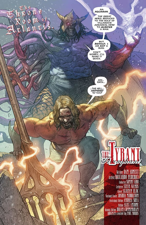 Aquaman #37 art by Riccardo Federic and Sunny Gho