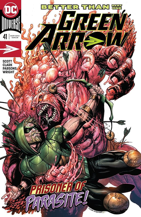 Green Arrow #41 cover by Tyler Kirkham and Arif Prianto