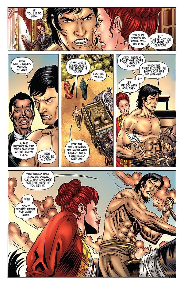 Red Sonja/Tarzan #2 art by Walter Geovani and Adriano Augusto