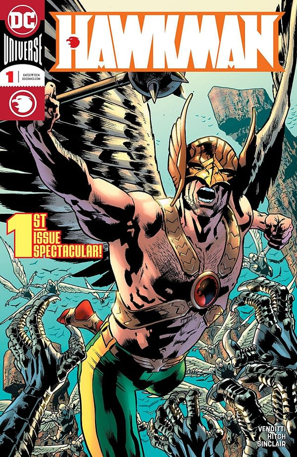 Hawkman #1 cover by Bryan Hitch and Alex Sinclair