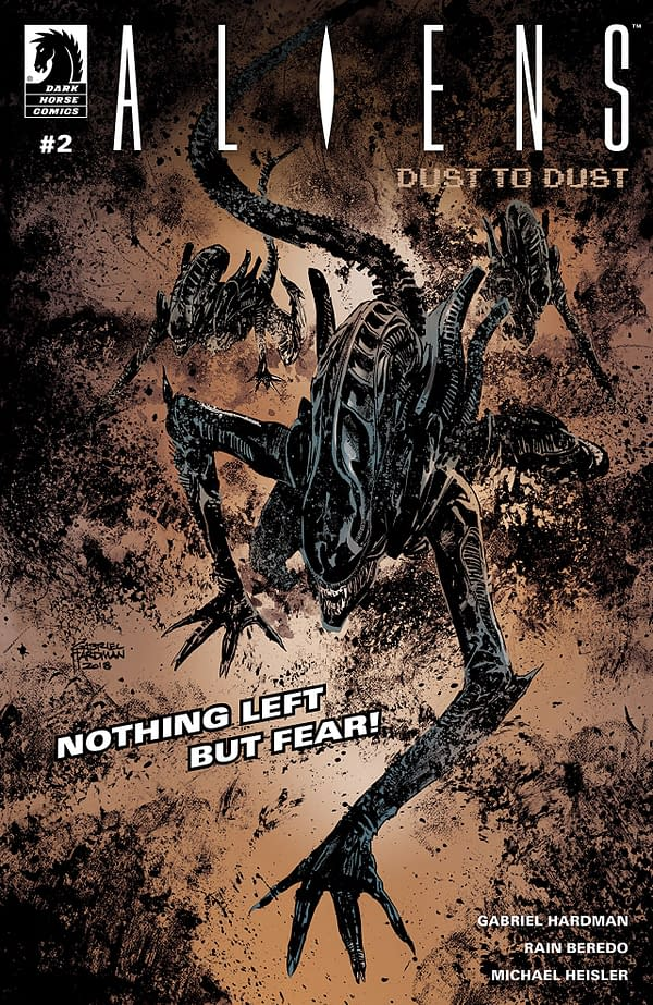 Aliens: Dust to Dust #2 cover by Gabriel Hardman and Rain Beredo