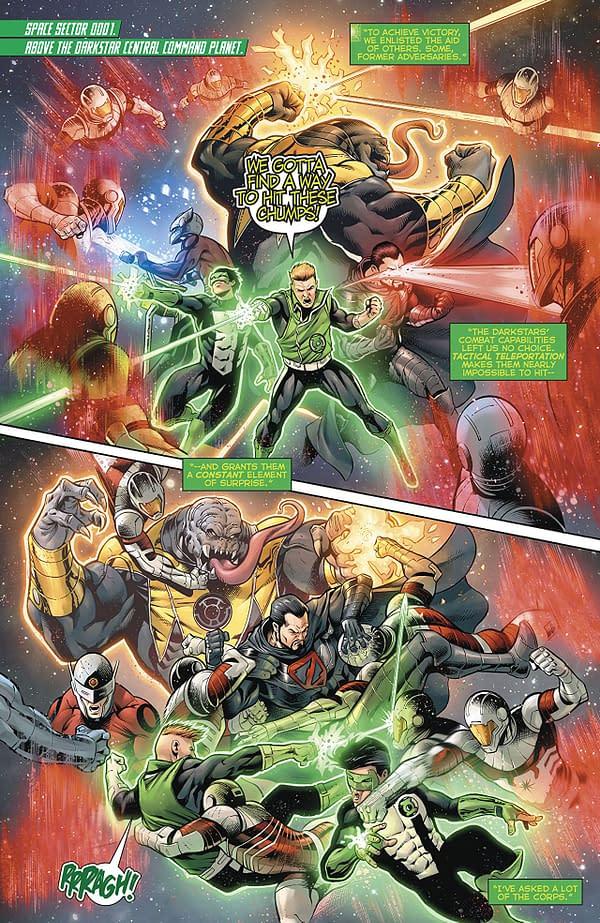 Hal Jordan and the Green Lantern Corps #49 art by Rafa Sandoval, Sergio Davila, Jordi Tarragona, and Tomeu Morey