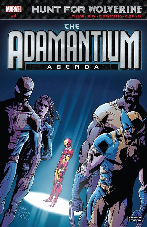Hunt for Wolverine: Adamantium Agenda #4 cover by Giuseppe Camuncoli, Roberto Poggi, and Val Staples