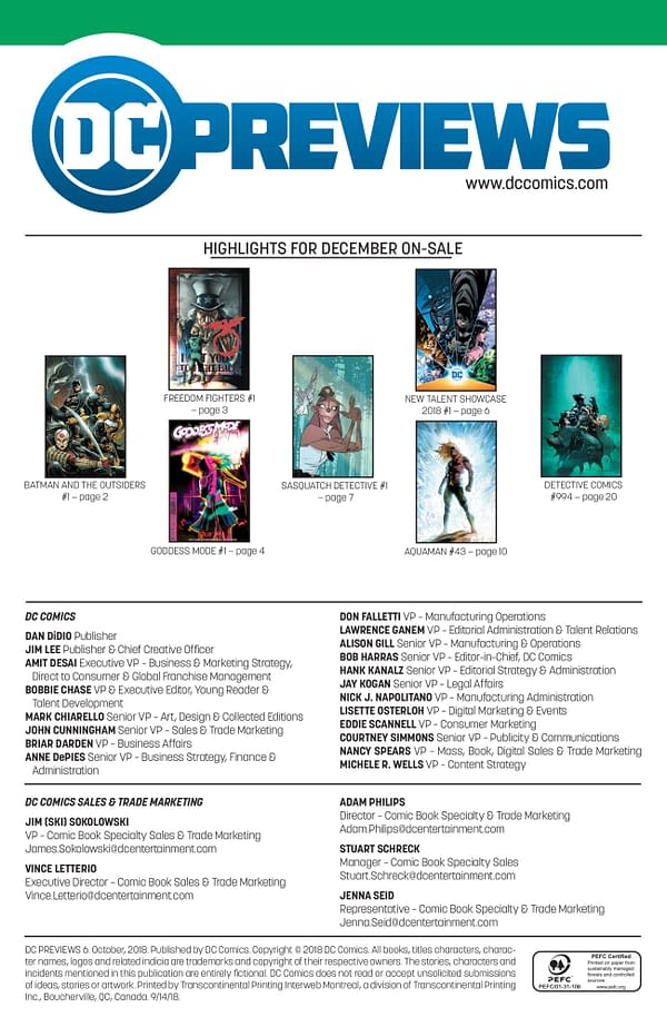 The Full DC Comics Catalog for December 2018 + Solicitations