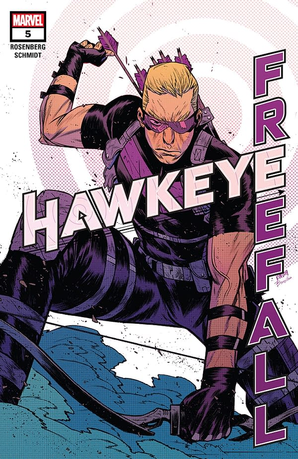 The cover to Hawkeye: Freefall #5 by Matthew Rosenberg and Otto Schmidt, only available digitally due to coronavirus cost-cutting measures.