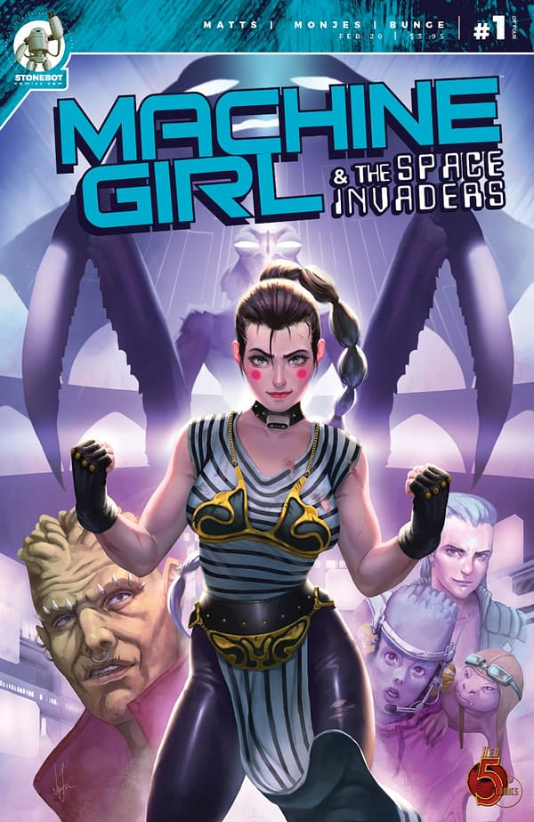 Machine Girl and the Space Invaders cover. Credit: Red 5 Comics.