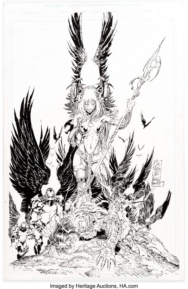Marc Silvestri and Batt's The Darkness #3 Cover Art For Auction