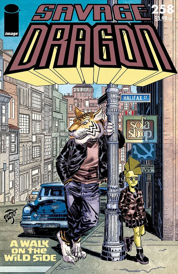 The cover to Savage Dragon #258 by Erik Larsen, in stores on April 7th from Image Comics.