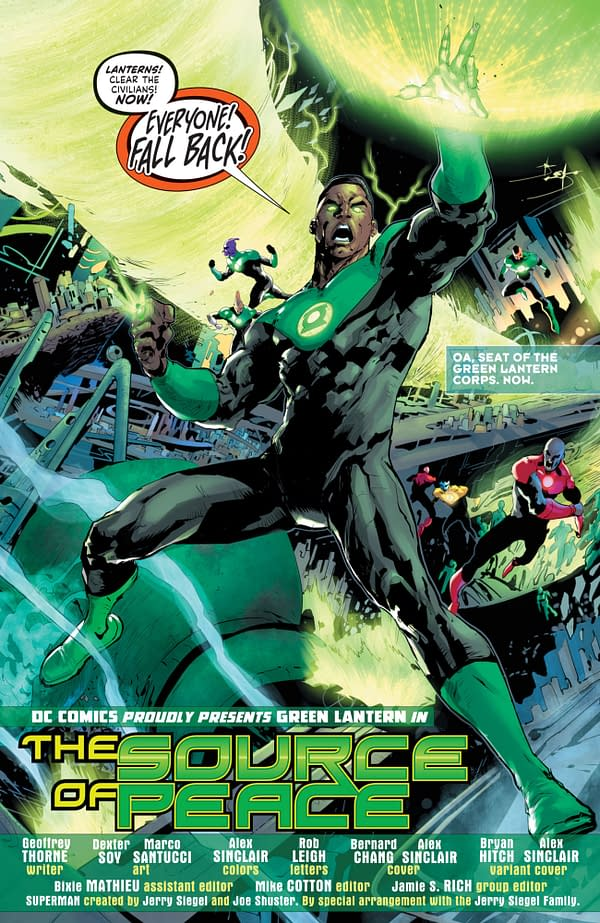 """Interior preview page from Green Lantern #1, by Geoffrey """"Jeffrey"""" Thorne and Dexter Soy, in stores April 6th from DC Comics"""