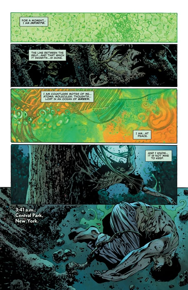 Interior preview page from The Swamp Thing #2, by Ram V and Mike Perkins, in stores from DC Comics on Tuesday, April 6th, 2021.