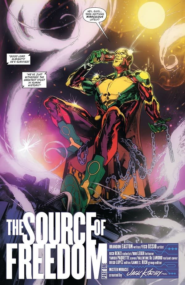 Interior preview page from MISTER MIRACLE THE SOURCE OF FREEDOM #1 (OF 6) CVR A YANICK PAQUETTE