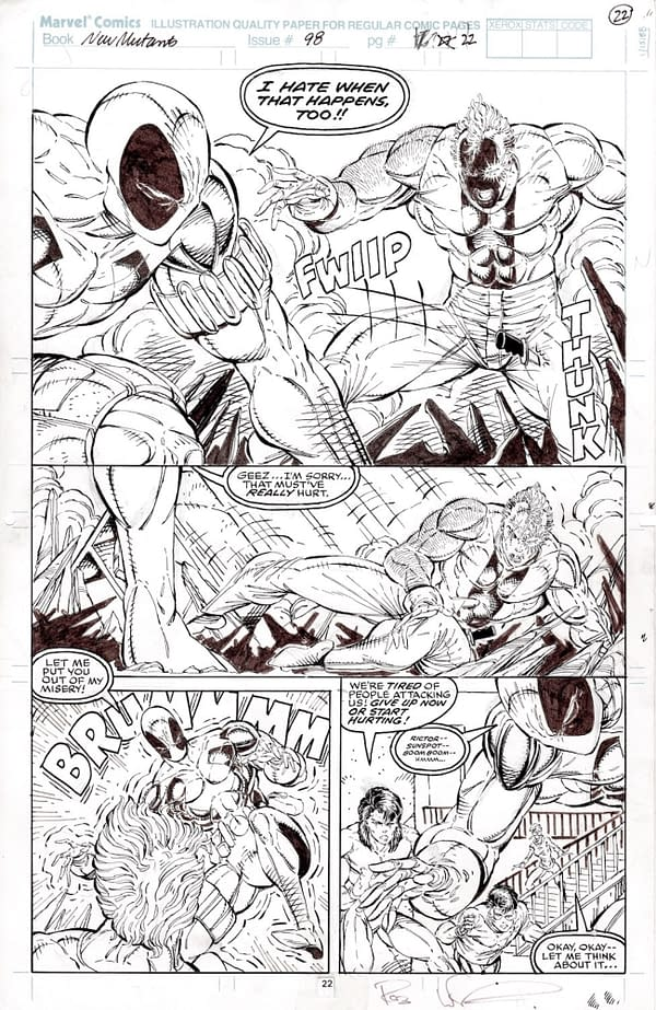 Rob Liefeld Artwork For Deadpool's First Appearance Sells For $200K