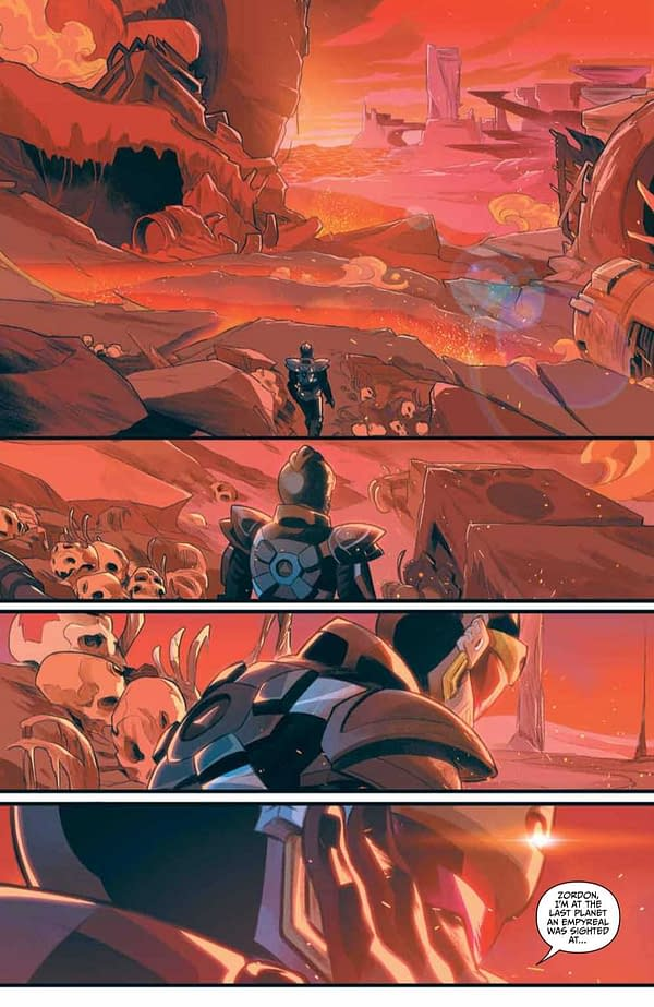 Interior preview page from APR211188 POWER RANGERS UNLIMITED EDGE OF DARKNESS #1 CVR A MORA, by (W) Frank Gogol (A) Simone Ragazzoni (CA) Dan Mora, in stores Wednesday, June 30, 2021 from BOOM! STUDIOS