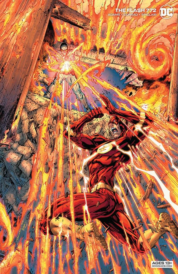 Variant cover to 0521DC120 FLASH #772, by (W) Jeremy Adams (A) Will Conrad (CA) Brandon Peterson, in stores Tuesday, July 20, 2021 from DC Comics
