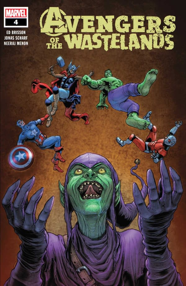 The cover of Avengers of the Wasteland #4 published by Marvel Comics with a creative team of Ed Brisson, Jonas Scharf, Neeraj Menon, and Cory Petit.