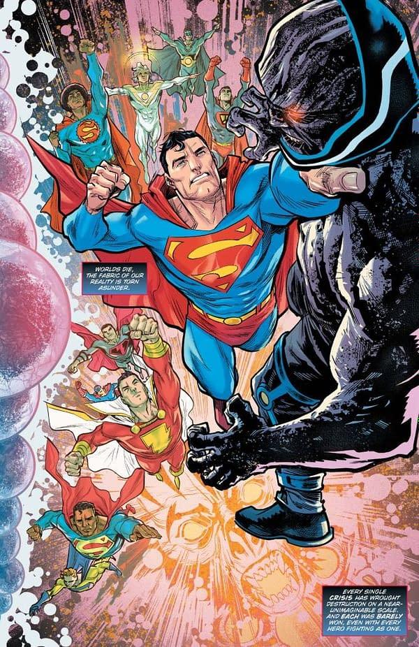 Is That Superboy Prime Narrating Dark Nights: Death Metal Trinity Crisis?