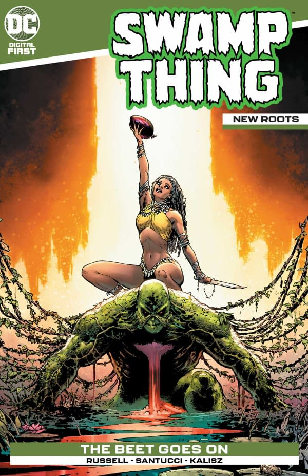 The cover of Swamp Thing: New Roots #1 from DC Comics with a creative team of Mark Russell, Marco Santucci, John Kalisz, and Jimmy B.