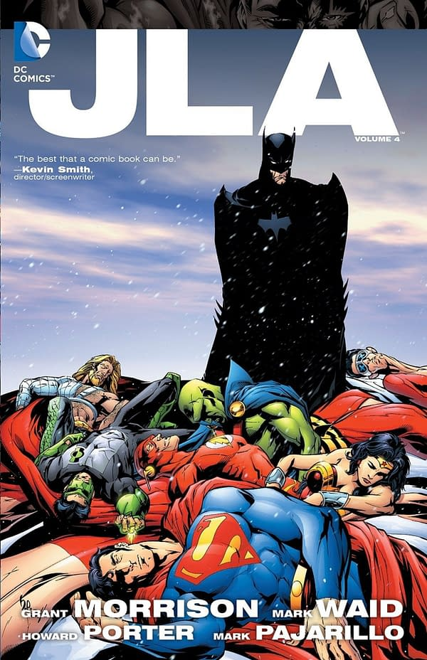 The cover of JLA: Tower of Babel by Grant Morrison, Mark Waid, Howard Porter, and Mark Pajarillo.