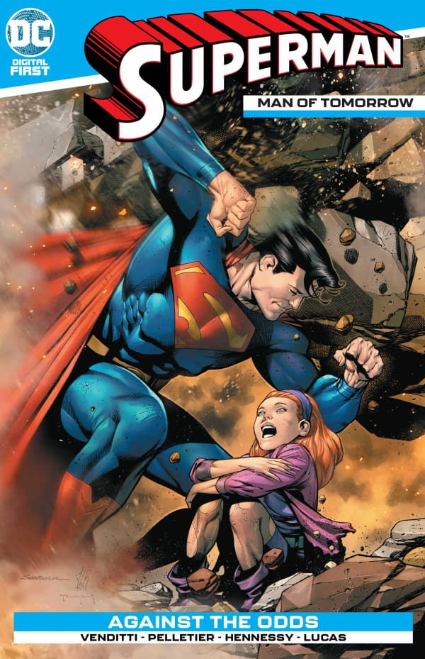 The cover of Superman: Man of Tomorrow #2 from DC Comics with a creative team of Robert Venditti, Paul Pelletier, Drew Hennessy, and Adriano Lucas.