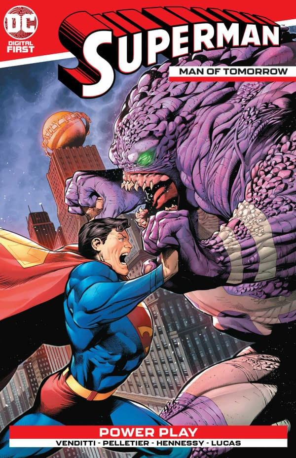The cover of Superman: Man of Tomorrow by DC Comics with a creative team of Robert Venditti, Paul Pelletier, Drew Hennessy, and Adriano Lucas. Credit: DC Comics.