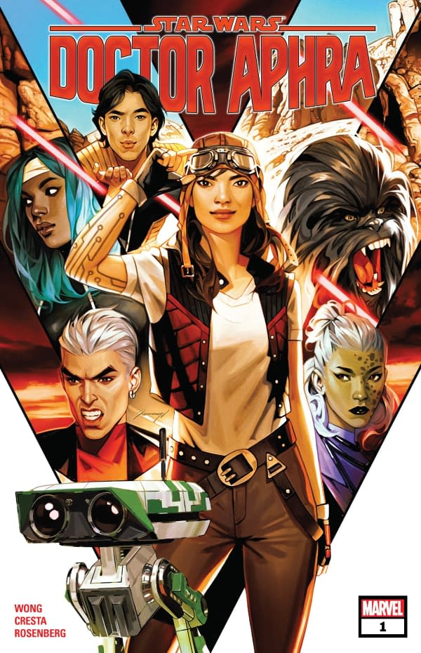 The cover of Star Wars: Doctor Aphra #1 published by Marvel Comics with a creative team of Alyssa Wong, Marika Cresta, Rachelle Rosenberg, and Joe Caramagna.
