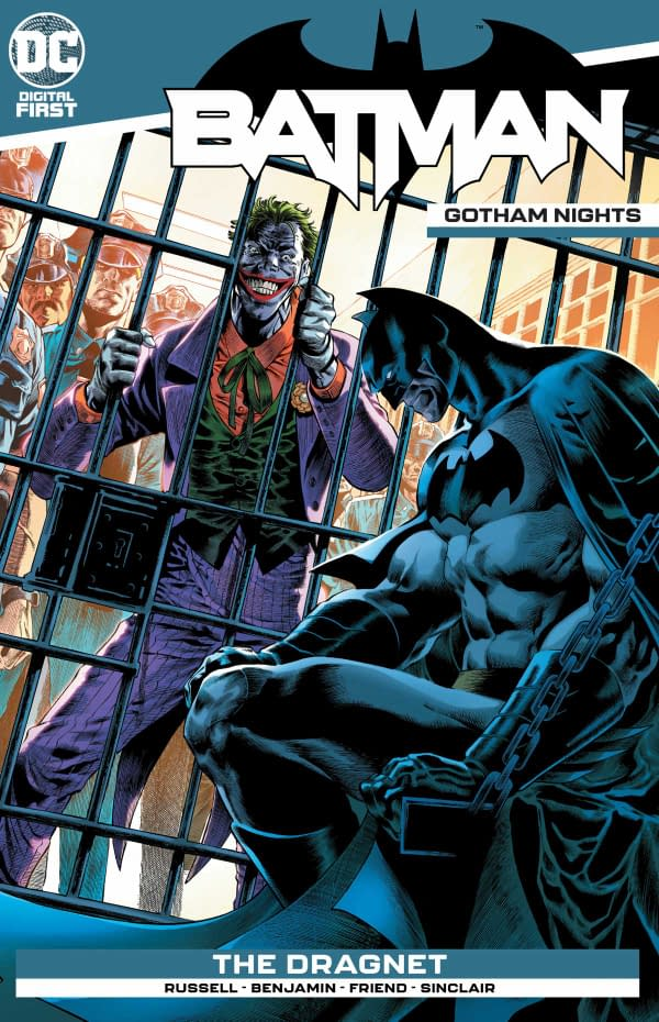 The cover of Batman: Gotham Nights #4 published by DC Comics with a creative team of Mark Russell, Ryan Benjamin, Richard Friend, Alex Sinclair, and Troy Peteri.
