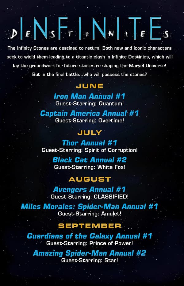 Infinite Destinies, Marvel's Summer Annual Event, Launches in June