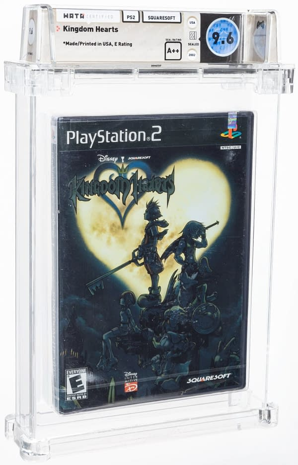 The front cover of the box for Kingdom Hearts, the Final Fantasy/Disney crossover game for the PS2, created by Squaresoft. Currently available on auction at Heritage Auctions' website.