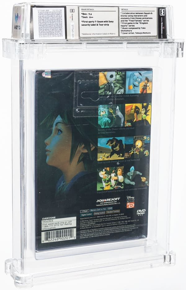 The back cover of the box for Kingdom Hearts, the Final Fantasy/Disney crossover game for the PS2, created by Squaresoft. Currently available on auction at Heritage Auctions' website.