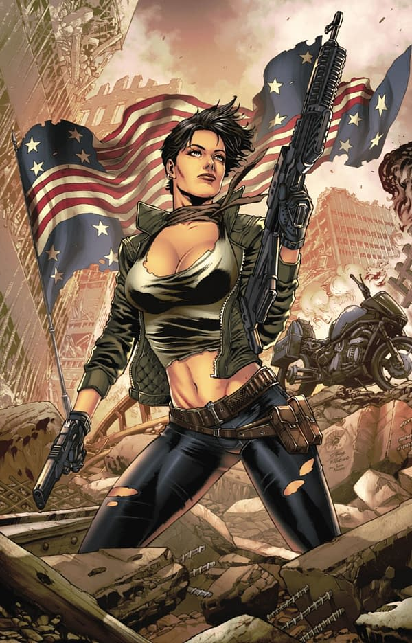 The Courier: Liberty and Death Issue 2 of 3 cover. Credit: Zenescope