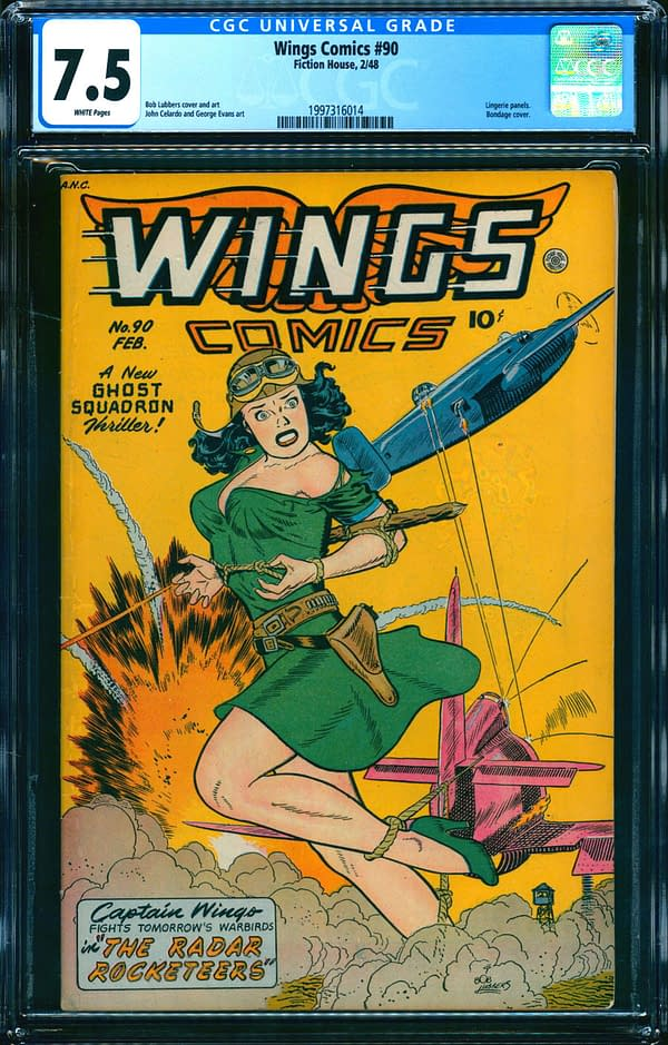 The copy of Wings Comics #90 up for auction on ComicConnect. Image Credit: ComicConnect