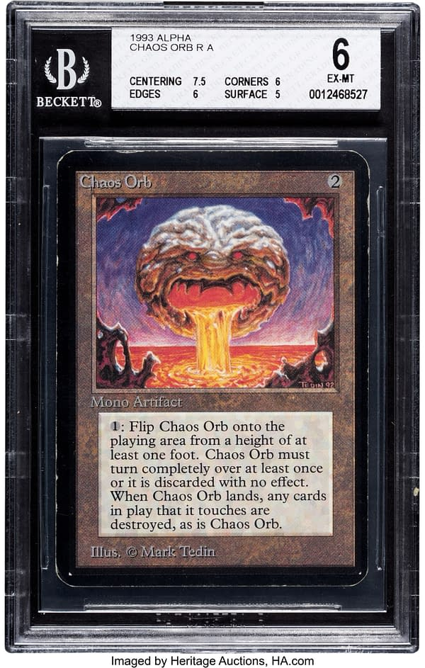 The front face of Chaos Orb, a card from Magic: The Gathering's Alpha set, the first set of the game. Currently available at auction on Heritage Auctions' website.
