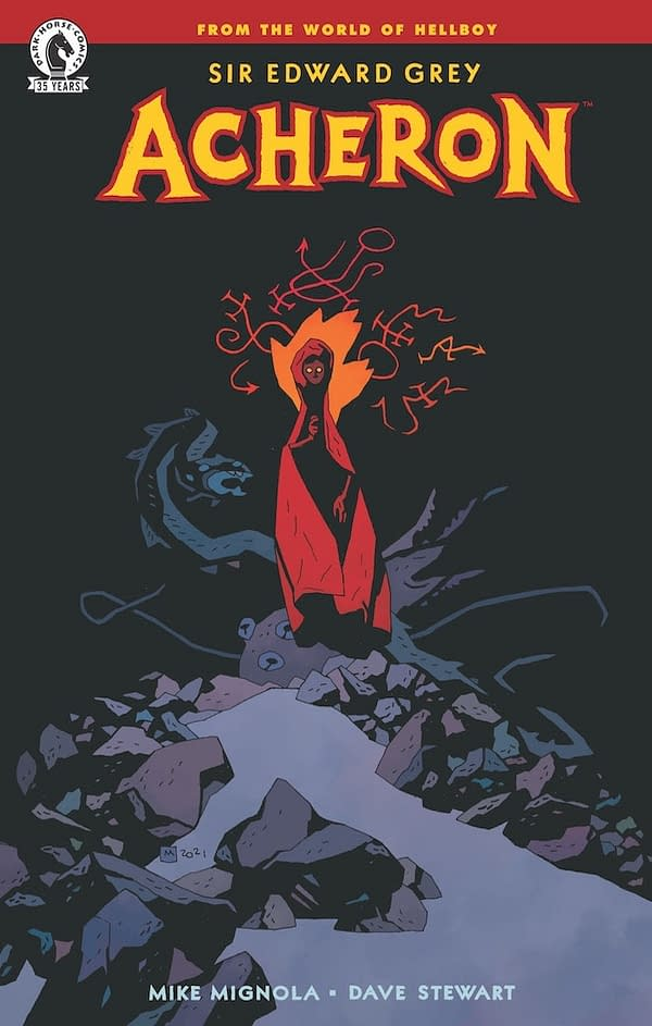 The cover to Sir Edward Grey: Acheron, the first full-length comic drawn by Mike Mignola in five years.