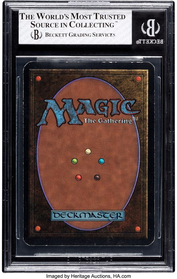 The back face of Chaos Orb, a card from Magic: The Gathering's Alpha set, the first set of the game. Currently available at auction on Heritage Auctions' website.