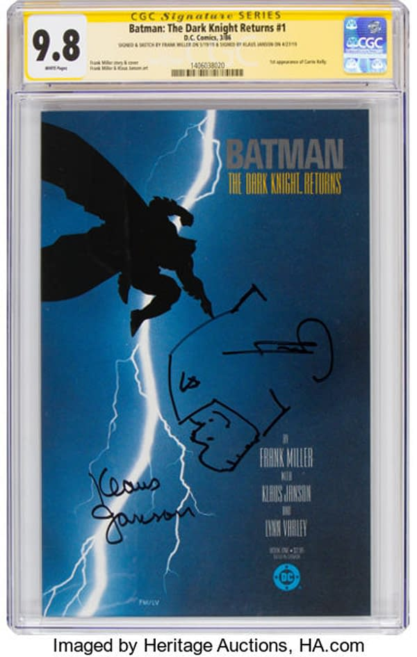 Frank Miller Signed & Sketched Dark Knight #1 On Auction On Heritage