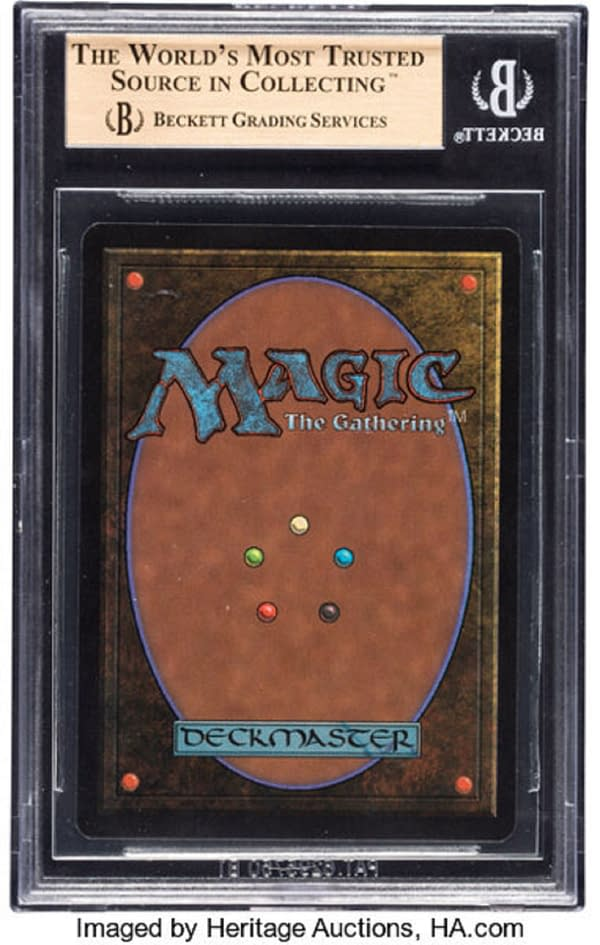 The back face of the Beckett 9.5-graded Beta Black Lotus.